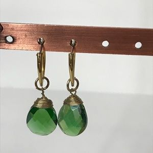 Jewelry - Vintage Iridescent Green Bead Goldtone Earrings